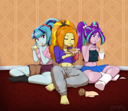 Size: 1200x1040 | Tagged: safe, artist:empyu, adagio dazzle, aria blaze, sonata dusk, equestria girls, bag, barefoot, belly button, beverage, burger, burrito, casual, clothes, cup, cup noodles, drinking, eating, eyes closed, eyeshadow, feet, food, makeup, midriff, nail polish, noodles, open mouth, pants, ponytail, shorts, skirt, sleeveless, socks, stocking feet, sweatpants, tanktop, the dazzlings, toenail polish, trio