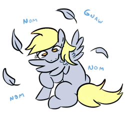 Size: 500x470 | Tagged: safe, artist:jargon scott, edit, editor:theglitchedwolf, derpy hooves, behaving like a bird, character swap, cute, feather, female, grooming, missing cutie mark, nom, preening, raised hoof, simple background, sitting, solo, white background