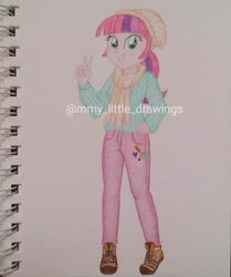 Size: 1003x1199 | Tagged: safe, artist:mmy_little_drawings, oc, oc only, equestria girls, beanie, clothes, eyelashes, female, grin, hat, obtrusive watermark, pants, peace sign, scarf, shoes, smiling, solo, traditional art, watermark