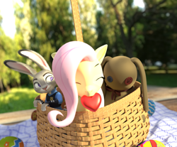 Size: 3921x3240 | Tagged: safe, artist:weedy, fluttershy, pony, 3d, basket, blender, easter, heart, holiday, judy hopps, outdoors, zootopia