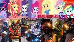 Size: 1280x720   Tagged: safe, artist:starbreaker-firewalker, edit, applejack, fluttershy, pinkie pie, rainbow dash, rarity, sci-twi, sunset shimmer, twilight sparkle, equestria girls, equestria girls series, forgotten friendship, spoiler:transformers equestria girls: the journey to friendship and leadership, bumblebee (transformers), friendship, humane five, humane seven, humane six, ironhide, jazz, leadership, logo, logo edit, photo, rodimus, sideswipe, spoilers for another series, sunstreaker, text, text edit, transformers, wheeljack