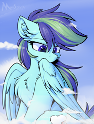 Size: 1629x2160 | Tagged: safe, artist:movieskywalker, derpibooru exclusive, oc, oc only, oc:rainbowsine finn, pegasus, pony, cloud, female, grooming, looking at something, multicolored hair, pegasus oc, preening, purple eyes, solo