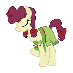 Size: 3139x3146 | Tagged: safe, artist:three uncle, hilly hooffield, earth pony, pony, the hooffields and mccolts, background pony, bow, clothes, cute, eyes closed, female, hair bow, hooffield family, mare, pigtails, pose, simple background, solo, vector