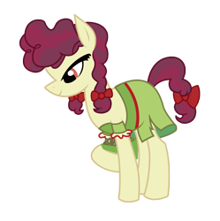 Size: 3139x3146 | Tagged: safe, alternate version, artist:three uncle, hilly hooffield, earth pony, pony, the hooffields and mccolts, background pony, bow, clothes, cute, female, hair bow, hooffield family, mare, pigtails, pose, simple background, solo, vector