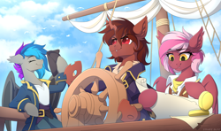 Size: 3638x2160   Tagged: safe, artist:strafe blitz, oc, oc only, oc:lyssa, oc:red flux, oc:zeny, bat pony, bird, changeling, moth, mothling, original species, pegasus, pony, semi-anthro, bat pony oc, clothes, commission, compass, ear fluff, fangs, featured image, female, hat, helm, high res, hoof hold, male, map, mare, multicolored hair, pencil, pirate, png, red changeling, sailing, ship, stallion, trio, ych result
