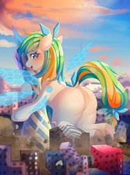 Size: 2794x3744   Tagged: safe, artist:alus, oc, oc:tea fairy, earth pony, human, pegasus, pony, blushing, building, butt, canton tower, china, chinese, destruction, female, guangzhou, high res, humanized, large butt, macro, mare, mascot, mega giant, solo, tower, wings