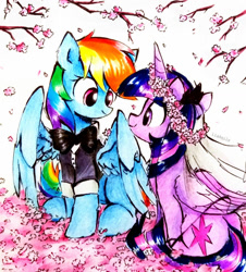 Size: 849x941 | Tagged: safe, artist:liaaqila, rainbow dash, twilight sparkle, alicorn, pegasus, pony, cherry blossoms, clothes, duo, female, floral head wreath, flower, flower blossom, lesbian, looking at each other, mare, marriage, shipping, smiling, smiling at each other, traditional art, tuxedo, twidash, twilight sparkle (alicorn), wedding