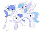 Size: 3200x2400 | Tagged: safe, artist:eyeburn, oc, oc only, oc:snow pup, oc:starburn, pegasus, pony, collar, ear fluff, female, grooming, lifted leg, looking back, mare, on hind legs, pet tag, preening, simple background, spread wings, standing, transparent background, wings