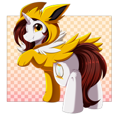 Size: 3680x3448   Tagged: safe, artist:pridark, oc, oc only, jolteon, pony, unicorn, clothes, commission, cosplay, costume, crossover, cutie mark, eeveelution, high res, hoodie, horn, male, one eye closed, pokémon, raised hoof, smiling, solo, video game crossover, white body, wink, yellow eyes
