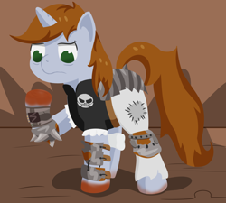 Size: 1200x1080   Tagged: safe, artist:toshimatsu, derpibooru exclusive, oc, oc only, oc:littlepip, pony, unicorn, fallout equestria, blood, fanfic, fanfic art, golden oaks library, hooves, horn, looking down, pipboy, pipbuck, raider armor, raised hoof, tail, this will not end well
