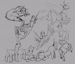 Size: 3957x3393 | Tagged: safe, artist:alumx, princess celestia, alicorn, pegasus, pony, butt, female, gray background, grayscale, looking back, lying down, mare, monochrome, on back, plot, prone, simple background, sketch, sketch dump, tail, tail pull