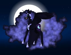 Size: 1080x835 | Tagged: safe, artist:tessa_key_, nightmare moon, alicorn, pony, collaboration, ethereal mane, eyelashes, fangs, female, full moon, galaxy mane, helmet, hoof shoes, horn, mare, moon, open mouth, peytral, smiling, solo, stars, wings