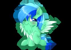 Size: 1750x1222 | Tagged: safe, artist:jadebreeze115, oc, oc only, oc:jade breeze, pegasus, blue eyes, blushing, colored wings, cute, daaaaaaaaaaaw, ear fluff, ethereal mane, gradient wings, grooming, looking at you, male, pegasus oc, preening, shy, simple background, sitting, spread wings, transparent background, wings