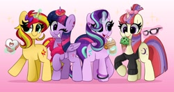 Size: 4096x2170 | Tagged: safe, artist:kittyrosie, moondancer, starlight glimmer, sunset shimmer, twilight sparkle, alicorn, pony, unicorn, equestria girls, bracelet, clothes, cute, dancerbetes, donut, ear piercing, earring, food, glasses, glimmerbetes, glowing horn, gradient background, horn, ice cream, jewelry, one eye closed, piercing, shimmerbetes, simple background, twiabetes, twilight sparkle (alicorn), wink