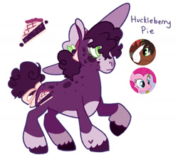 Size: 1280x1114   Tagged: safe, artist:babypaste, pinkie pie, trouble shoes, oc, oc:huckleberry pie, earth pony, pony, bow, hat, offspring, parent:pinkie pie, parent:trouble shoes, parents:trouble pie, screencap reference, simple background, solo, sun hat, tail bow, unshorn fetlocks, white background
