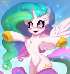 Size: 1875x1971 | Tagged: safe, artist:chickenbrony, artist:falafeljake, princess celestia, alicorn, pony, armpits, blushing, chest fluff, cute, cutelestia, ear fluff, female, heart eyes, horn, missing accessory, open mouth, rainbow, smiling, solo, sparkles, wingding eyes, wings