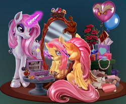 Size: 2250x1859 | Tagged: safe, artist:harwick, discord, fleur-de-lis, fluttershy, bird, mouse, pegasus, pony, squirrel, unicorn, fanfic:anchor foal, balloon, book, box, bracelet, chocolate, disguise, fanfic art, flower, food, glowing horn, horn, jewelry, lipstick, makeup, mirror, necklace, nest, perfume, rose, scroll