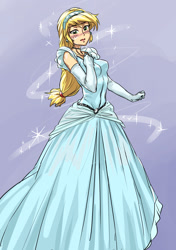 Size: 1053x1500 | Tagged: safe, artist:invisibleone11, applejack, equestria girls, beautiful, blushing, cinderella, clothes, clothes swap, disney, disney princess, dress, evening gloves, gloves, gown, hairband, long gloves, solo