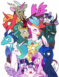 Size: 3140x4096 | Tagged: safe, alternate version, artist:chub-wub, big macintosh, derpy hooves, princess cadance, princess celestia, princess ember, princess flurry heart, princess luna, princess skystar, queen chrysalis, queen novo, rain shine, twilight sparkle, alicorn, changeling, changeling queen, dragon, hippogriff, kirin, pegasus, pony, my little pony: the movie, alicorn costume, alicorn pentarchy, alicornified, baby, clothes, costume, cute, dragoness, fake horn, fake wings, female, flurrybetes, mare, nightmare night costume, one of these things is not like the others, open mouth, princess big mac, princess derpy, race swap, royal sisters, siblings, simple background, sisters, toilet paper roll, toilet paper roll horn, twilight muffins, twilight sparkle (alicorn), white background, wig
