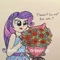 Size: 1068x1068 | Tagged: safe, artist:mmy_little_drawings, rarity, equestria girls, equestria girls series, bouquet, clothes, comic, eyelashes, female, flower, obtrusive watermark, open mouth, rarity peplum dress, solo, talking, traditional art, watermark