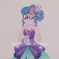 Size: 1080x1080 | Tagged: safe, artist:mmy_little_drawings, sci-twi, twilight sparkle, equestria girls, legend of everfree, blushing, clothes, cup, cute, cutie mark, cutie mark on clothes, dress, eyelashes, female, glasses, grin, obtrusive watermark, smiling, solo, traditional art, twiabetes, watermark