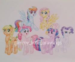 Size: 1080x896 | Tagged: safe, artist:mmy_little_drawings, applejack, fluttershy, pinkie pie, rainbow dash, rarity, twilight sparkle, crystal pony, earth pony, pegasus, pony, unicorn, alternate hairstyle, crystallized, eyelashes, female, flying, horn, mane six, mare, obtrusive watermark, smiling, traditional art, unicorn twilight, watermark, wings