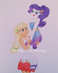 Size: 1079x1349 | Tagged: safe, artist:mmy_little_drawings, applejack, rarity, equestria girls, equestria girls series, spring breakdown, spoiler:eqg series (season 2), clothes, dress, eyelashes, feet, female, freckles, lesbian, looking up, obtrusive watermark, rarijack, sandals, shipping, sleeveless, smiling, traditional art, watermark