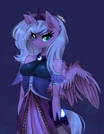 Size: 1581x2048 | Tagged: safe, artist:siripim111, princess luna, alicorn, anthro, breasts, clothes, crown, detached sleeves, ear fluff, jewelry, regalia, shoulder fluff, shoulderless, solo, wing fluff