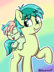 Size: 1554x2057 | Tagged: safe, artist:heretichesh, coral currents, sandbar, earth pony, pony, blushing, brother and sister, colt, coral currents riding sandbar, coralbetes, cute, duo, female, filly, happy, male, ponies riding ponies, raised hoof, riding, siblings, smiling
