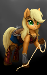 Size: 1600x2560 | Tagged: safe, artist:raphaeldavid, applejack, earth pony, pony, armor, clothes, cosplay, costume, dc comics, dc extended universe, justice league, lasso, looking at you, rope, solo, wonder woman, wonderjack, zack snyder's justice league