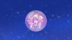 Size: 1920x1080 | Tagged: safe, screencap, applejack, fluttershy, pinkie pie, rainbow dash, rarity, twilight sparkle, alicorn, earth pony, pegasus, pony, unicorn, bubble trouble, my little pony: pony life, pony life, spoiler:pony life s02e08, bubble, female, green face, in the bubble, mane six, mare, sick, twilight sparkle (alicorn)