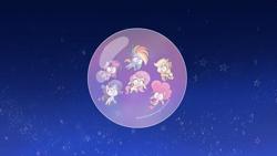 Size: 1920x1080 | Tagged: safe, screencap, applejack, fluttershy, pinkie pie, rainbow dash, rarity, twilight sparkle, alicorn, earth pony, pegasus, pony, unicorn, bubble trouble, my little pony: pony life, pony life, spoiler:pony life s02e08, bubble, female, in the bubble, mane six, mare, twilight sparkle (alicorn)