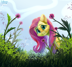Size: 3000x2786 | Tagged: safe, artist:teaflower300, fluttershy, pegasus, pony, cheek fluff, cute, ear fluff, female, flower, folded wings, grass, happy, high res, looking at you, looking down, looking down at you, mare, outdoors, shyabetes, sky, smiling, solo, wings