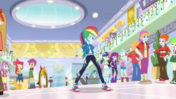 Size: 3410x1920 | Tagged: safe, screencap, apple bloom, big macintosh, bon bon, heath burns, lyra heartstrings, mystery mint, photo finish, pixel pizazz, rainbow dash, sandalwood, scootaloo, sweetie belle, sweetie drops, trixie, violet blurr, dashing through the mall, equestria girls, equestria girls series, holidays unwrapped, spoiler:eqg series (season 2), adorabloom, apple bloom's bow, belt, boots, bow, captain plaent, clothes, converse, cute, cutealoo, cutie mark, cutie mark crusaders, cutie mark on clothes, diasweetes, eyes closed, female, geode of super speed, hair bow, hoodie, jewelry, magical geodes, male, necklace, open mouth, shoes, smiling