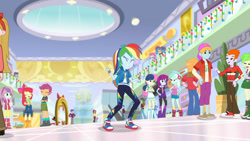 Size: 3410x1920 | Tagged: safe, screencap, apple bloom, big macintosh, bon bon, captain planet, cherry crash, heath burns, lyra heartstrings, mystery mint, photo finish, pixel pizazz, rainbow dash, sandalwood, scootaloo, sweetie belle, sweetie drops, trixie, dashing through the mall, equestria girls, equestria girls series, holidays unwrapped, spoiler:eqg series (season 2), adorabloom, angry, apple bloom's bow, belt, boots, bow, clothes, converse, crossed arms, cute, cutealoo, cutie mark, cutie mark crusaders, cutie mark on clothes, diasweetes, eyes closed, female, geode of super speed, hair bow, hat, hoodie, jewelry, magical geodes, male, necklace, shoes