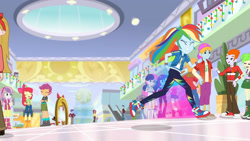 Size: 3410x1920 | Tagged: safe, screencap, apple bloom, big macintosh, bon bon, captain planet, cherry crash, heath burns, lyra heartstrings, mystery mint, photo finish, pixel pizazz, rainbow dash, scootaloo, sweetie belle, sweetie drops, trixie, violet blurr, dashing through the mall, equestria girls, equestria girls series, holidays unwrapped, spoiler:eqg series (season 2), adorabloom, apple bloom's bow, belt, boots, bow, clothes, converse, crossed arms, cute, cutealoo, cutie mark, cutie mark crusaders, cutie mark on clothes, diasweetes, eyes closed, female, geode of super speed, hair bow, hoodie, jewelry, magical geodes, male, necklace, open mouth, rainbow trail, running, shoes, smiling