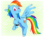 Size: 2421x1998 | Tagged: safe, artist:nendo, rainbow dash, pegasus, pony, bow, bracelet, cute, dashabetes, flying, jewelry, ribbon, solo, spread wings, wings