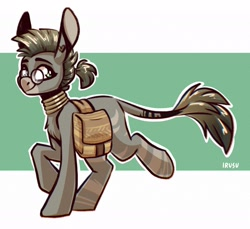 Size: 1897x1735   Tagged: safe, artist:lrusu, oc, oc only, oc:emerald strass, hybrid, mule, pony, bag, chest fluff, ear piercing, earring, glasses, jewelry, looking at you, neck rings, piercing, saddle bag, smiling, solo