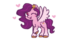 Size: 320x177   Tagged: safe, artist:fizpup, pipp petals, pegasus, pony, g5, adorapipp, blushing, cute, female, heart, looking at you, mare, no pupils, one eye closed, open mouth, picture for breezies, raised hoof, simple background, smiling, smiling at you, solo, spread wings, standing, unshorn fetlocks, white background, wings, wink, winking at you