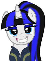 Size: 907x1194 | Tagged: safe, artist:severity-gray, oc, oc:coldlight bluestar, pony, unicorn, fallout equestria, base used, clothes, eyeshadow, fallout, female, grin, horn, looking at you, makeup, mare, ponytail, silly, silly face, simple background, smiley face, smiling, solo, transparent background, vault suit