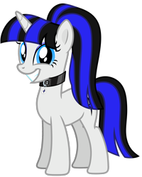 Size: 3070x3835 | Tagged: safe, artist:severity-gray, oc, oc:coldlight bluestar, pony, unicorn, alternate hairstyle, collar, cutie mark, cutie mark accessory, cutie mark collar, female, grin, looking at you, mare, ponytail, simple background, smiley face, smiling, smiling at you, transparent background, wide smile