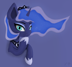Size: 1730x1620 | Tagged: safe, artist:veyronraze, princess luna, pony, colored, flat colors, horn, simple background, solo