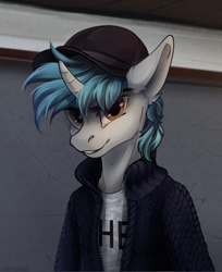 Size: 2759x3385 | Tagged: safe, artist:mithriss, oc, oc only, unicorn, anthro, baseball cap, cap, clothes, hat, high res, horn, jacket, looking at you, male, shirt, smiling, smirk, solo