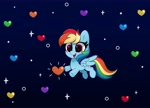 Size: 4096x2952 | Tagged: safe, artist:kittyrosie, rainbow dash, pegasus, pony, cute, dashabetes, gradient background, heart, high res, nyan cat, nyan dash, open mouth, simple background, solo