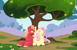 Size: 2100x1350 | Tagged: safe, anonymous artist, big macintosh, fluttershy, earth pony, pegasus, pony, series:fm holidays, assisted preening, crossed hooves, cute, eyes closed, female, fluttermac, grooming, lineless, lying down, macabetes, male, mare, no pupils, nose in the air, preening, preggoshy, pregnant, pregshy, prone, shipping, shyabetes, spread wings, stallion, straight, wings