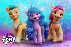 Size: 900x600 | Tagged: safe, hitch trailblazer, izzy moonbow, sunny starscout, earth pony, pony, unicorn, g5, my little pony: a new generation, female, looking at you, male, my little pony logo, official art, poster, stallion