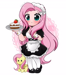 Size: 3612x4096   Tagged: safe, artist:kittyrosie, fluttershy, human, :<, blushing, c:, cake, clothes, cute, female, fluttermaid, food, heart eyes, high res, humanized, maid, self ponidox, shyabetes, simple background, smiling, white background, wingding eyes