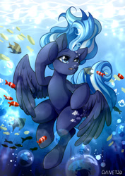 Size: 1280x1811 | Tagged: safe, artist:chinetsuwinx, oc, oc only, fish, pegasus, pony, blue eyes, bubble, commission, crepuscular rays, eyes closed, feather, flowing mane, flowing tail, ocean, open mouth, solo, sunlight, swimming, underwater, water, wings