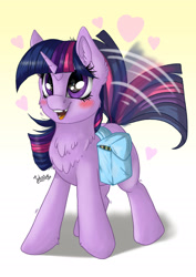 Size: 1920x2716 | Tagged: safe, artist:julunis14, twilight sparkle, pony, unicorn, adorkable, bag, blank flank, blushing, chest fluff, cute, digital art, dork, ear fluff, excited, female, filly, filly twilight sparkle, happy, heart, medibang paint, saddle bag, signature, smiling, solo, tail wag, tooth gap, twiabetes, unicorn twilight, younger