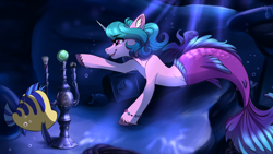Size: 3840x2160 | Tagged: safe, artist:faline-art, izzy moonbow, fish, mermaid, merpony, pony, unicorn, g5, 8 ball, ball, bubble, clock, cloven hooves, crepuscular rays, crossover, dorsal fin, ear fluff, female, fins, fish tail, flounder, horn, izzy's tennis ball, mermaid tail, mermaidized, mermay, ocean, open mouth, purple eyes, seaponified, smiling, solo, species swap, swimming, tail, tennis ball, that pony sure does love tennis balls, the little mermaid, underwater, unshorn fetlocks, water